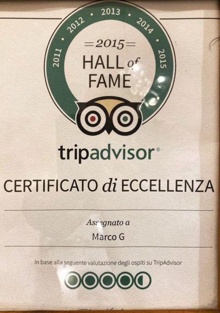 Ristorante Marco G Certificato Eccellenza Tripadvisor